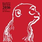 Het tekenkaart van het kalligrafie 2016 Gelukkige Nieuwjaar met Aap Royalty-vrije Stock Fotografie