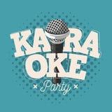 Het Tekenontwerp van het karaokeetiket met Microfoonillustratie Stock Fotografie