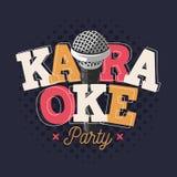 Het Tekenontwerp van het karaokeetiket met Microfoonillustratie Royalty-vrije Stock Foto