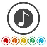 Het tekenpictogram van de muzieknota Muzikaal symbool stock illustratie