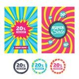 het tekenpictogram van de 20 percentenkorting Het symbool van de verkoop Stock Fotografie