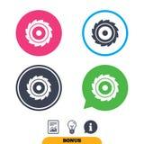 Het tekenpictogram van het zaag cirkelwiel Scherp blad Royalty-vrije Stock Foto's