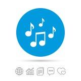 Het tekenpictogram van muzieknota's Muzikaal symbool stock illustratie