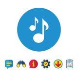 Het tekenpictogram van muzieknota's Muzikaal symbool royalty-vrije illustratie