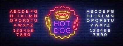 Het tekenvector van het hotdogneon Van de het neonstijl van het hotdogembleem het ontwerpmalplaatje, het embleem van het nachtneo Royalty-vrije Stock Foto