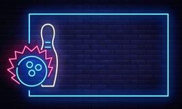 Het tekenvector van het kegelenneon De Ontwerpsjabloon van de het Kegelenclub van het neonkader, lichte banner, nachtuithangbord, stock illustratie