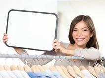 Het tekenvrouw van de winkel Stock Foto