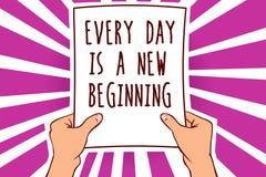 Het tekstteken die Elke Dag tonen is een Nieuw Begin De conceptuele foto u heeft een kans om de holdingsdocument van de het werk  vector illustratie