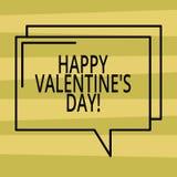 Het tekstteken die Gelukkig Valentine S tonen is Dag Conceptuele foto wanneer de minnaars hun affectie met Rechthoekige groeten u stock illustratie