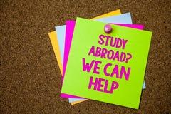 Het tekstteken die Studie tonen vraagt in het buitenland wij kan helpen Het conceptuele foto volledig gaan overzee uw diverse col stock fotografie