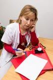 Het telefoneren van verpleegster Stock Foto