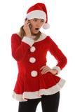 Het telefoongesprek van de verrassing van Kerstman Stock Fotografie