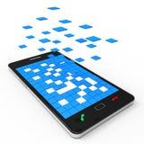 Het telefoonnetwerk toont Toepassingssoftware en communiceert royalty-vrije illustratie