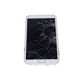 Het telefoonscherm gebroken witte achtergrond stock foto's
