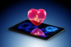 Het telegeneeskundeconcept met ver toezicht op hartvoorwaarde vector illustratie