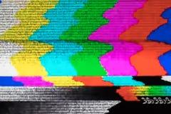 Het televisiescherm met statisch die lawaai door slechte signaalrecepti wordt veroorzaakt stock foto