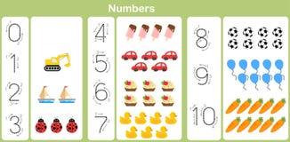 Het tellen en het schrijven aantallen aan 10 voor jonge geitjes Royalty-vrije Stock Afbeeldingen