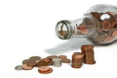 Het tellen van de Pence Stock Foto