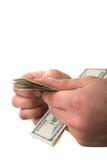 Het tellen van geld Stock Afbeeldingen