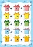 Het tellen van Onderwijsspel voor Kinderen Toevoegingsaantekenvellen Stock Afbeeldingen