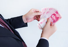 Het tellen Yuans of RMB, Chinese Munt Royalty-vrije Stock Foto
