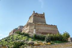 Het Templar-kasteel van Monzon Van Arabische oorsprongs 10de eeuw Huesca Spanje Stock Foto