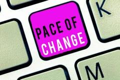 Het Tempo van de handschrifttekst van Verandering Concept die Verschuiving in normale routinevariatie in gebruikelijke activiteit stock foto's