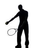 Het tennisspeler van de mens bij de dienst Stock Afbeelding