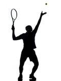 Het tennisspeler van de mens bij de dienst Stock Foto