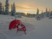 Het tenting van de winter in Centraal Oregon Royalty-vrije Stock Afbeeldingen