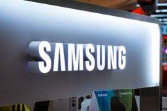 Het Tentoongestelde voorwerp Octobe van Samsung Logo Electronics Store Technology Display royalty-vrije stock foto