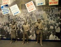 Het Tentoongestelde voorwerp van burgerrechtenprotesteerders binnen het Nationale Burgerrechtenmuseum in Lorraine Motel Stock Foto