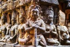 Het terras van de Lepralijderkoning in Angkor, Siem oogst, Kambodja royalty-vrije stock foto's