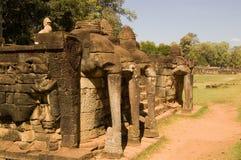 Het Terras van de olifant, Angkor Thom, Kambodja stock afbeelding