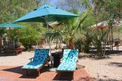 Het terras van de de parasoltuin van zonbedden, Afrikaanse toevlucht, Namibië Stock Foto