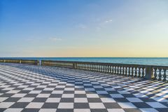 Het terras van Mascagniterrazza bij zonsondergang Livorno Toscanië Italië Royalty-vrije Stock Foto