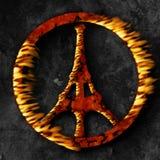 Het terrorisme van Parijs, vredesteken op brand Stock Foto