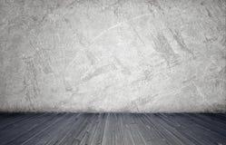 Het teruggeven van binnenland met witte concrete muur en houten vloer Royalty-vrije Stock Afbeeldingen