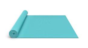 Het teruggeven van blauwe half gerolde die yogamat op witte achtergrond wordt geïsoleerd Royalty-vrije Stock Foto's