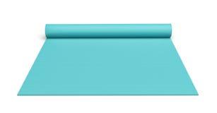 Het teruggeven van blauwe half gerolde die yogamat op witte achtergrond wordt geïsoleerd Stock Afbeelding
