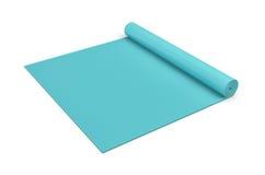 Het teruggeven van blauwe half gerolde yogamat op witte achtergrond Royalty-vrije Stock Fotografie