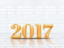 het teruggeven van 2017 3d nieuwe jaar gouden glanzend bij witte keramische tegelroo Royalty-vrije Stock Foto