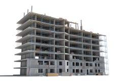 Het teruggeven van de bouw in aanbouw met steiger en verschillend materiaal royalty-vrije illustratie