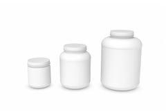 Het teruggeven van drie lege witte plastic kruiken van verschillende grootte Royalty-vrije Stock Foto