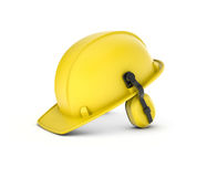 Het teruggeven van gele die bouwvakker met hoofdtelefoons op witte achtergrond worden geïsoleerd Stock Afbeeldingen