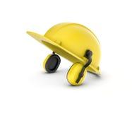 Het teruggeven van gele die helm met oortelefoons op de witte achtergrond worden geïsoleerd Stock Foto