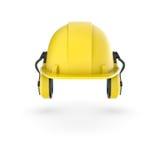 Het teruggeven van gele die helm met oortelefoons op de witte achtergrond worden geïsoleerd Stock Foto's