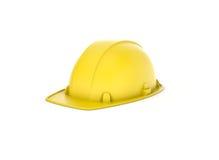 Het teruggeven van gele die helm op de witte achtergrond wordt geïsoleerd Royalty-vrije Stock Afbeeldingen
