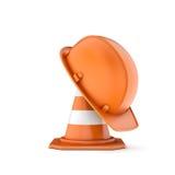 Het teruggeven van gestreepte verkeerskegel en helm op het Royalty-vrije Stock Afbeelding
