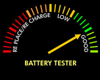 Het testen van de batterij instrument Stock Afbeeldingen